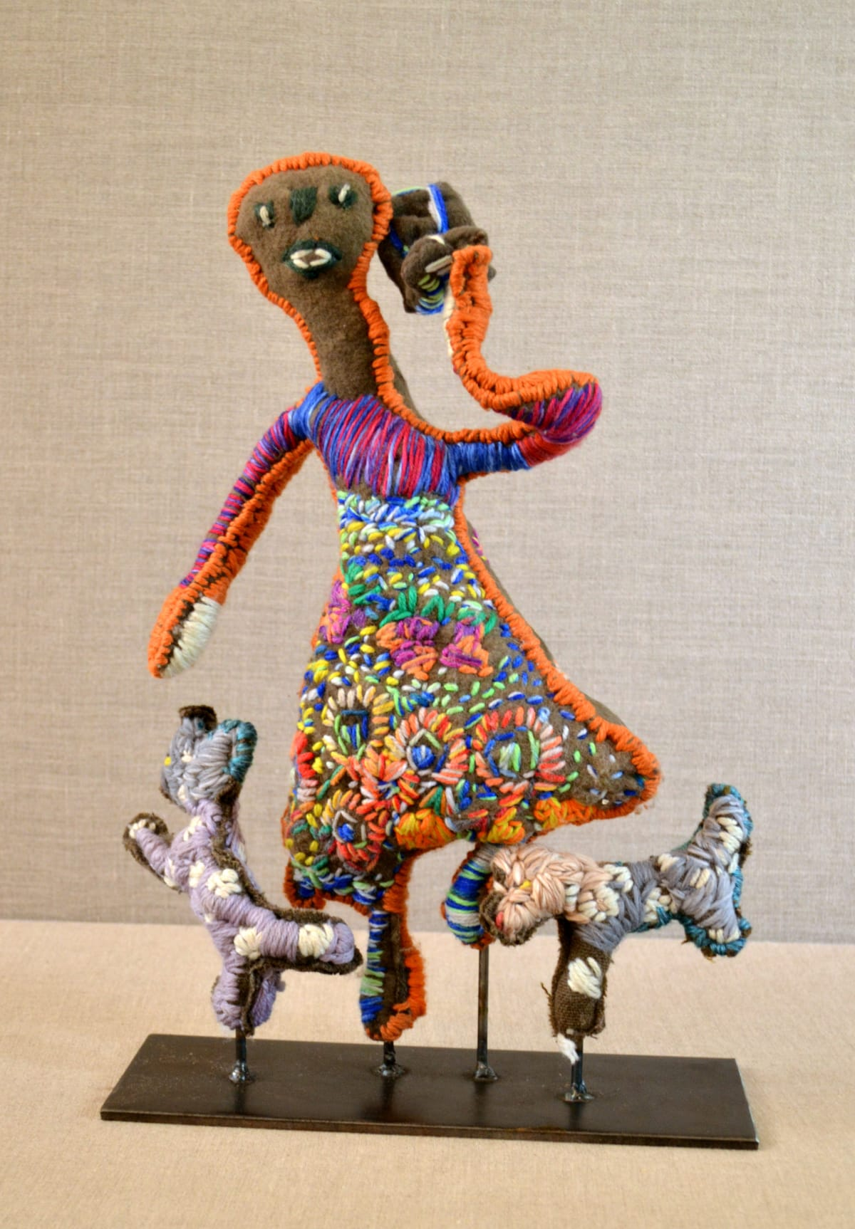 Marlene Rubuntja That's me - with mobile phone and my dogs! Soft Sculpture 47 x 32 cm