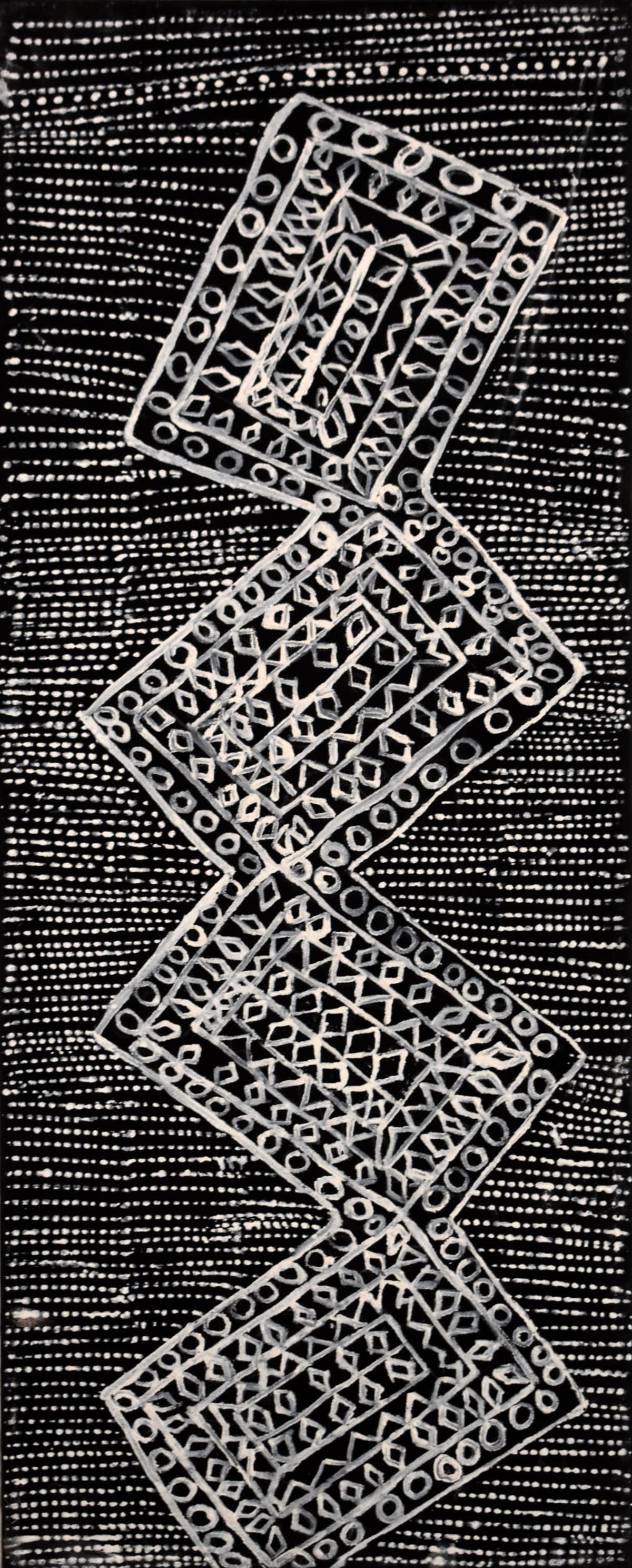 Rachel Puruntatameri JIlamara natural ochres on canvas 80 x 30 cm