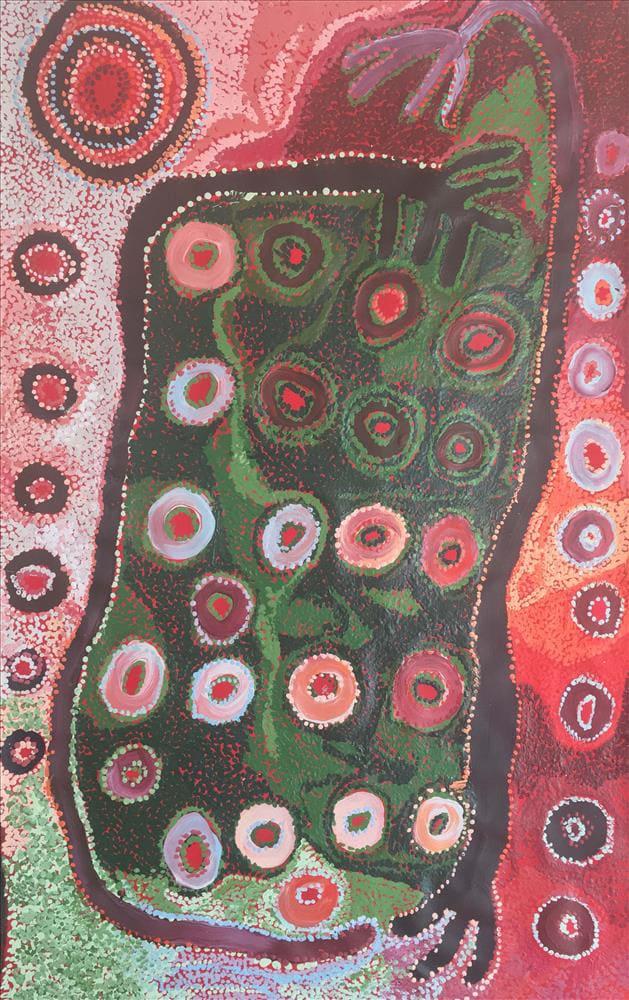 Iyawi Wikilyiri Punu Tjuta acrylic on linen 75 x 120 cm