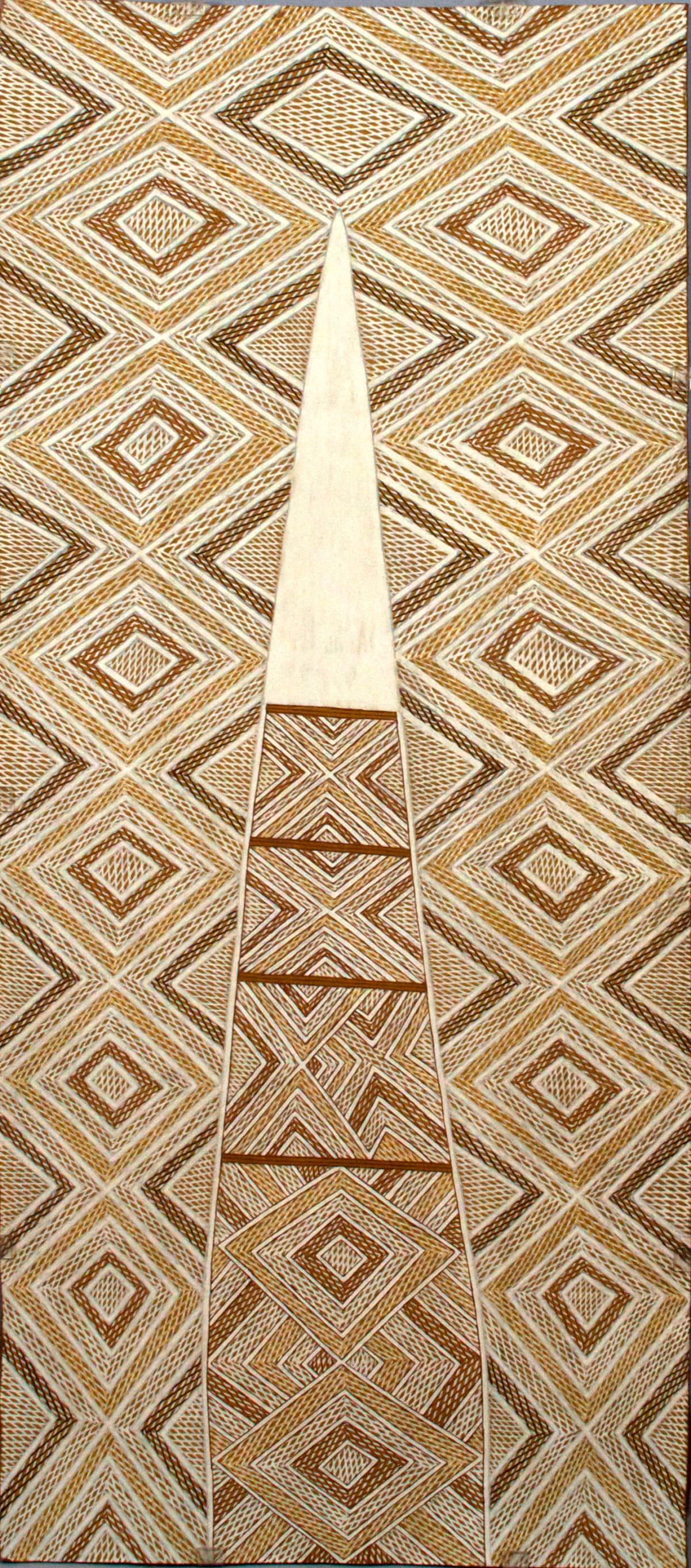 Garawan Wanambi Marranu at Raymangirr natural earth pigment on bark 104 x 46 cm