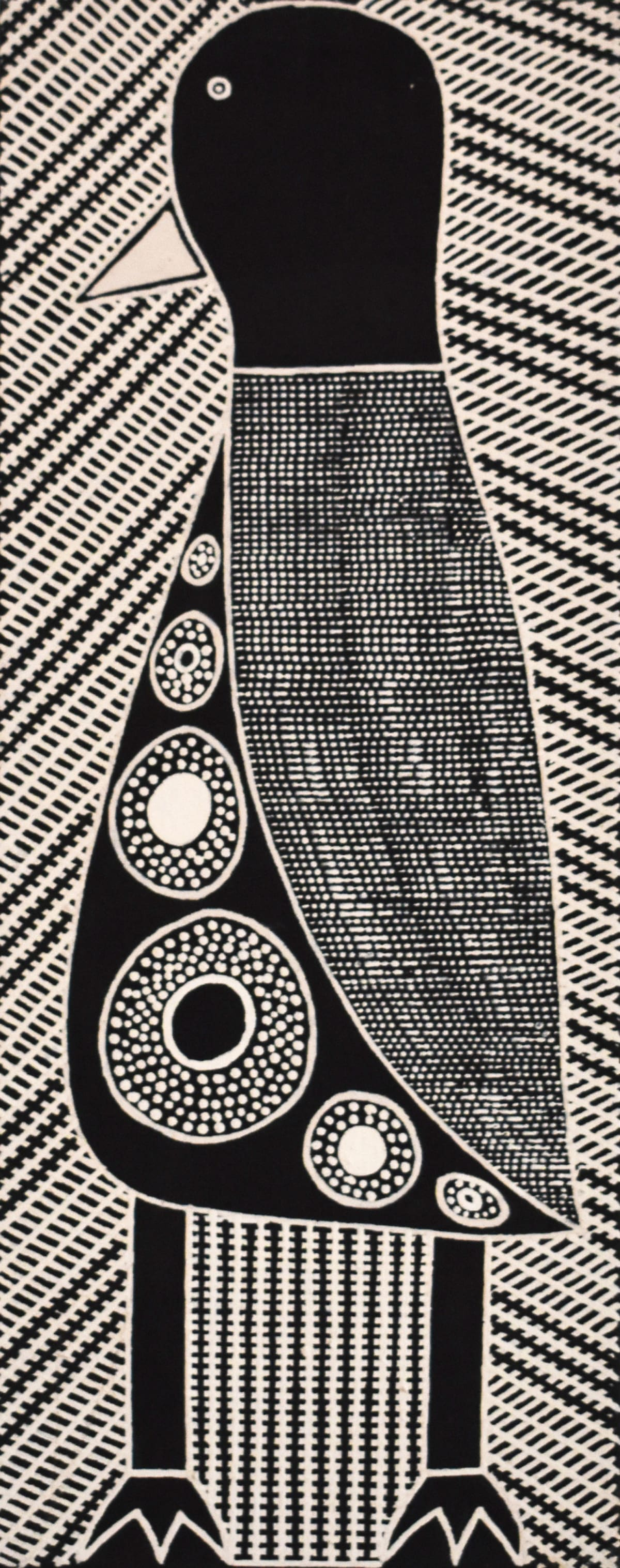 Janice Pungautiji Murray Jurriyi (Whistling Duck) I natural ochres on linen 80 x 30 cm