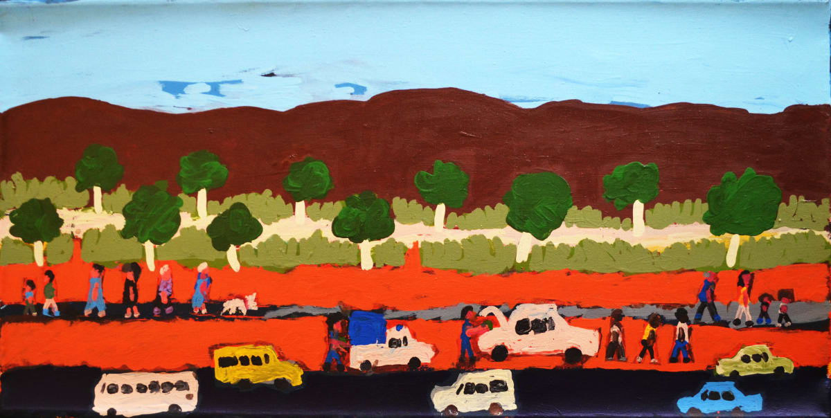 Sally M Mulda Police chasing the car with the grog acrylic on linen 91 x 46 cm