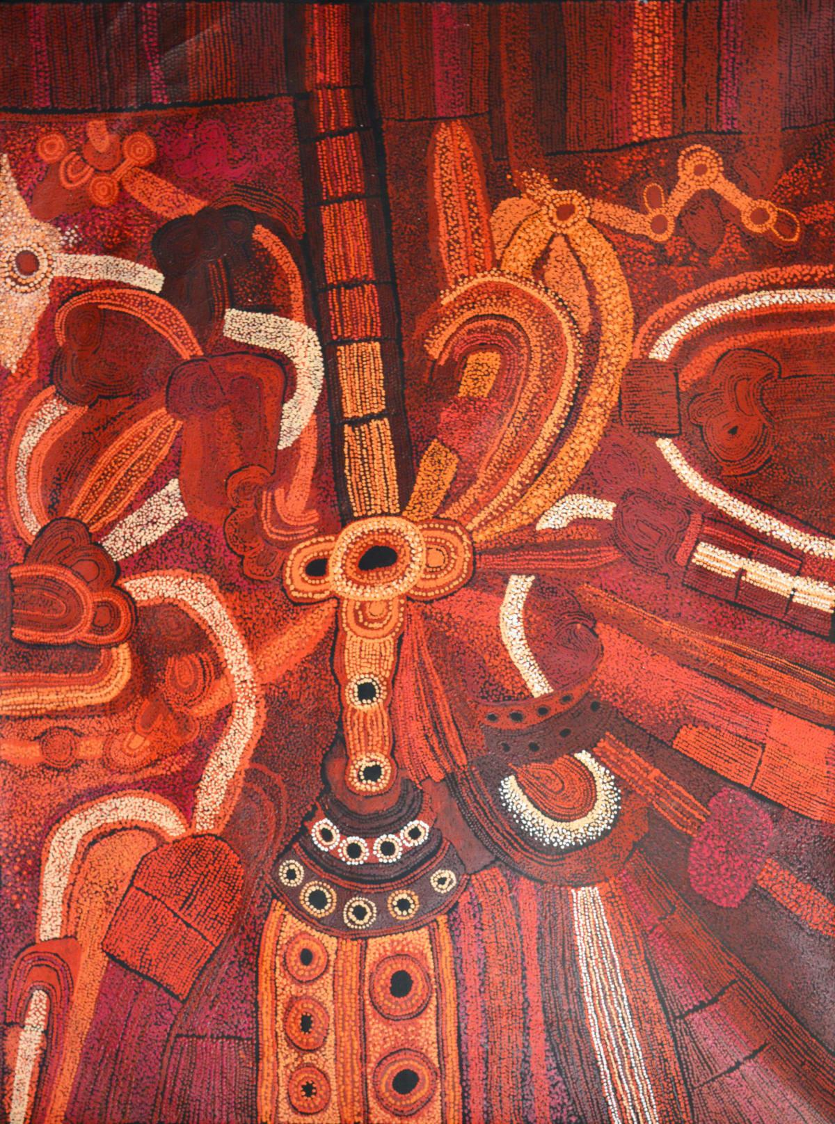 Teresa Baker Minyma Malilunya acrylic on canvas 150 x 200 cm