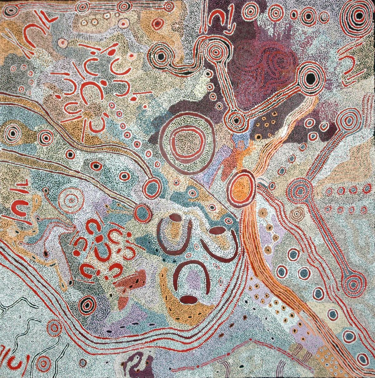 Iluwanti Ken & Mary Katatjuku Pan Seven Sisters acrylic on linen 197 x 198 cm