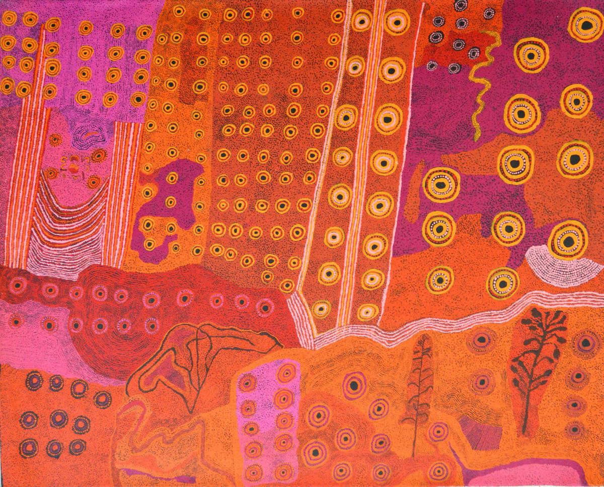 Ginger Wikilyiri Tjukula Tjukurpa acrylic on linen 152 x 121 cm
