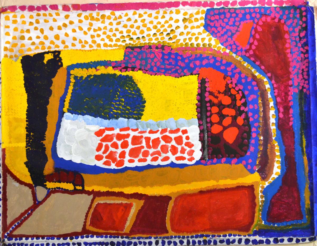 Daisy Japulija Billabongs acrylic on canvas 120 x 90 cm