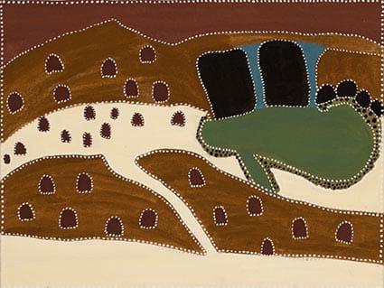 Kathy Ramsay Mort Creek natural ochres on canvas 80 x 60 cm