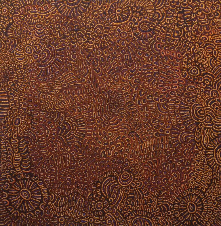 Katrina Tjitayi Kaliny-Kaliny - Honey Grevillea acrylic on canvas 100 x 97 cm