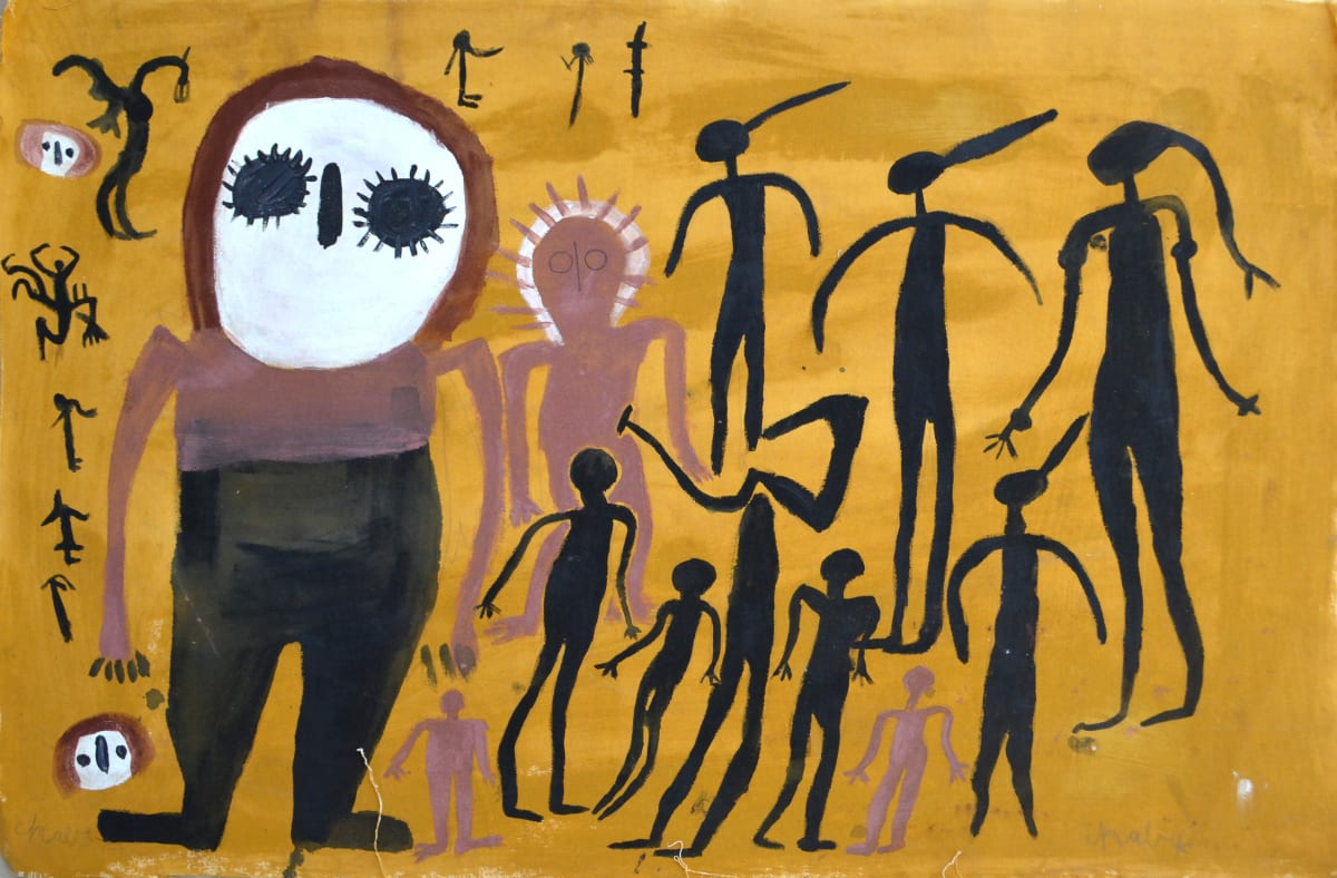 Mabel King Wandjina & Gyorn Gyorn acrylic on canvas 64 x 94 cm