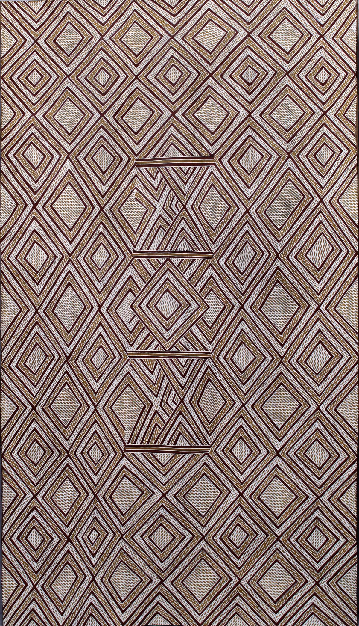 Garawan Wanambi Marranu Miny'tji natural earth pigment on bark 112 x 66 cm