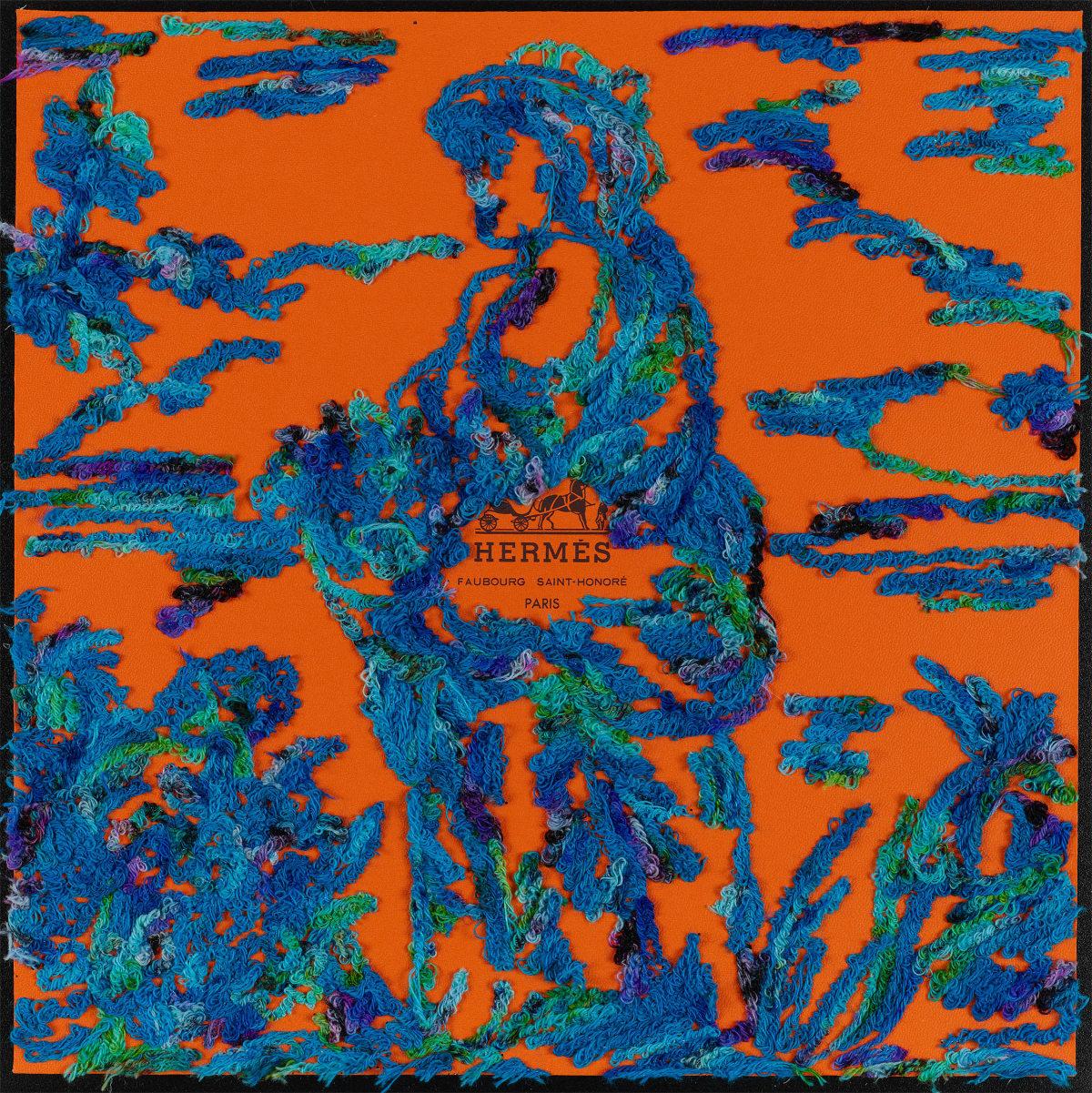 Stephen Wilson, Hermes Toile Lady, Blue , 2019