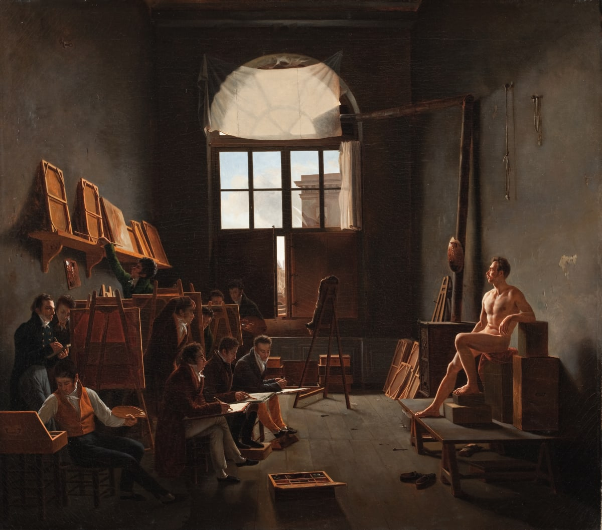 Léon-Mathieu Cochereau The Studio of Jacques-Louis David, 1814 Oil on canvas 91.1 x 102.87 cm 35 7/8 x 40 1/2 in