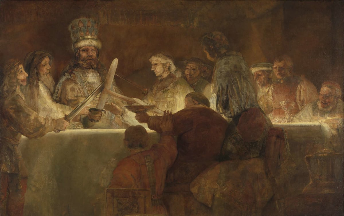 Rembrandt The Conspiracy of the Batavians under Claudius Civilis, 1534 Oil on panel 62 x 74 cm 24 3/8 x 29 1/8 in