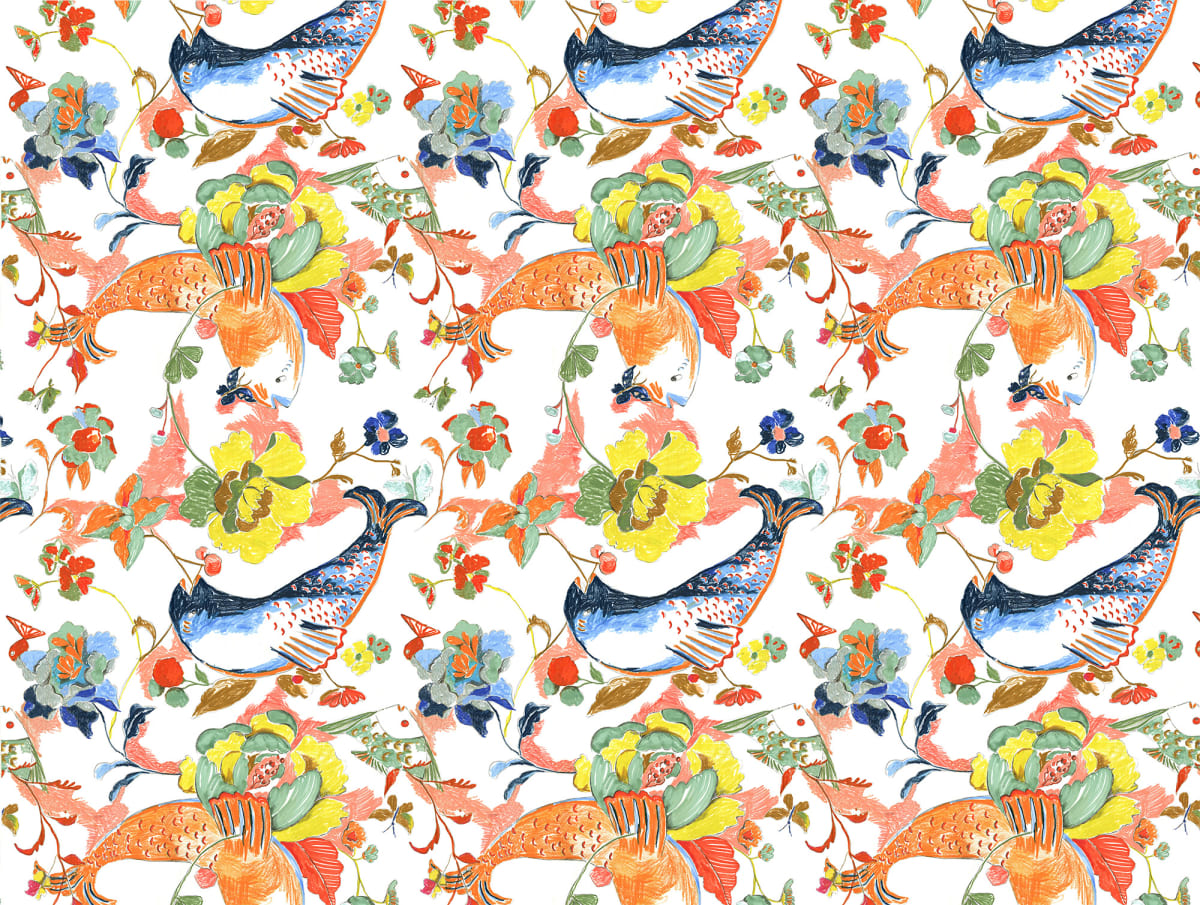 Ravenna Osgood, Betty-O Fish & Floral Wallpaper, 2018