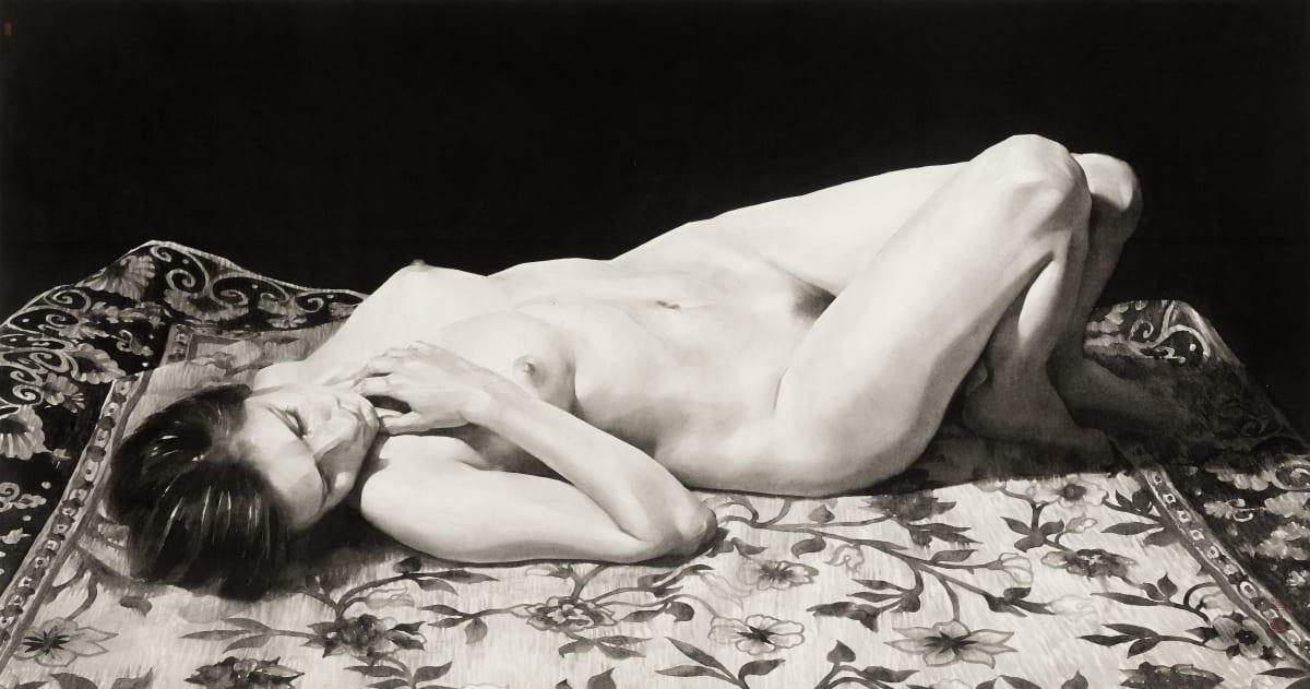 Qu Leilei 曲磊磊, Nude Lying on Decorative Carpet, 2017