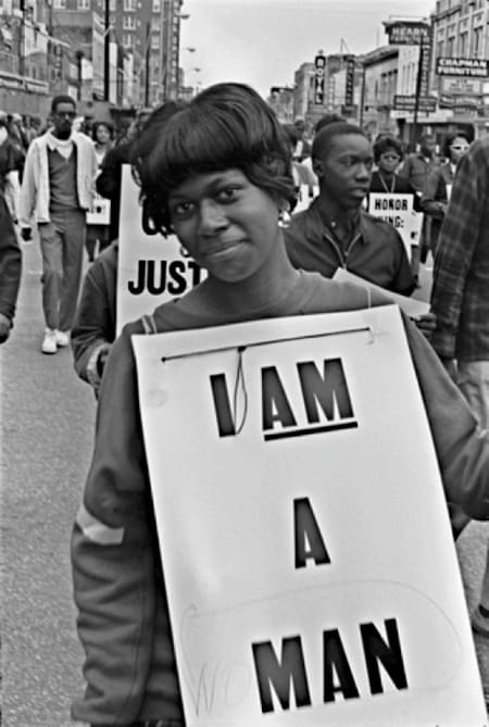 Builder Levy, I AM A (WO)MAN, Martin Luther King Memorial March for Union Justice and to End Racism, Memphis TN, 1968