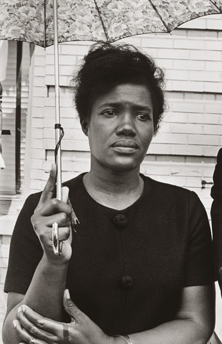 Builder Levy, Martin Luther King Funeral-Woman with Umbrella, 1963