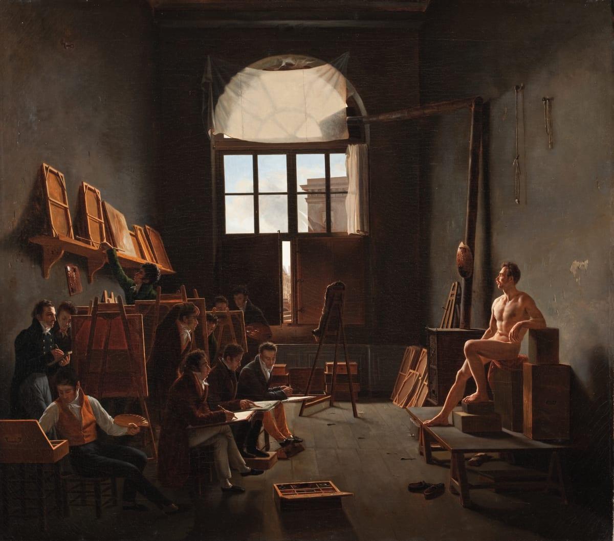 Léon-Mathieu Cochereau  The Studio of Jacques-Louis David, 1814  Oil on canvas  91.1 x 102.87 cm  35 7/8 x 40 1/2 in
