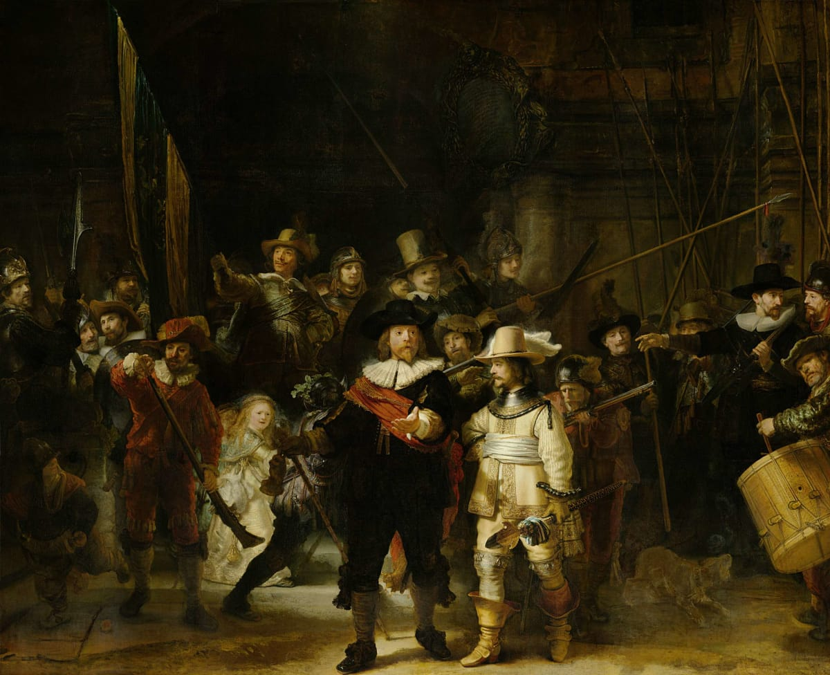 Rembrandt  Militia Company of District II under the Command of Captain Frans Banninck Cocq, 1837  Oil on canvas  62 x 74 cm  24 3/8 x 29 1/8 in