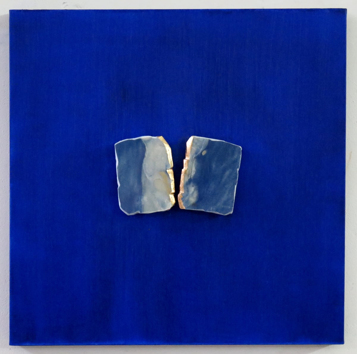 Gioni David Parra Matter Conceptual XI , 2018 Oil on canvas with azul Macaubas marble inserts and gold leaf 60 x 60 x 7 cm 23.6 x 23.6 x 2.8 in