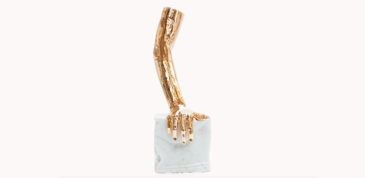 Michelangelo Galliani RIGHT HAND, 2019 Ceramic and Carrara white marble. 20 x 20 x 60 cm (7.9 x 7.9 x 23.6 in)