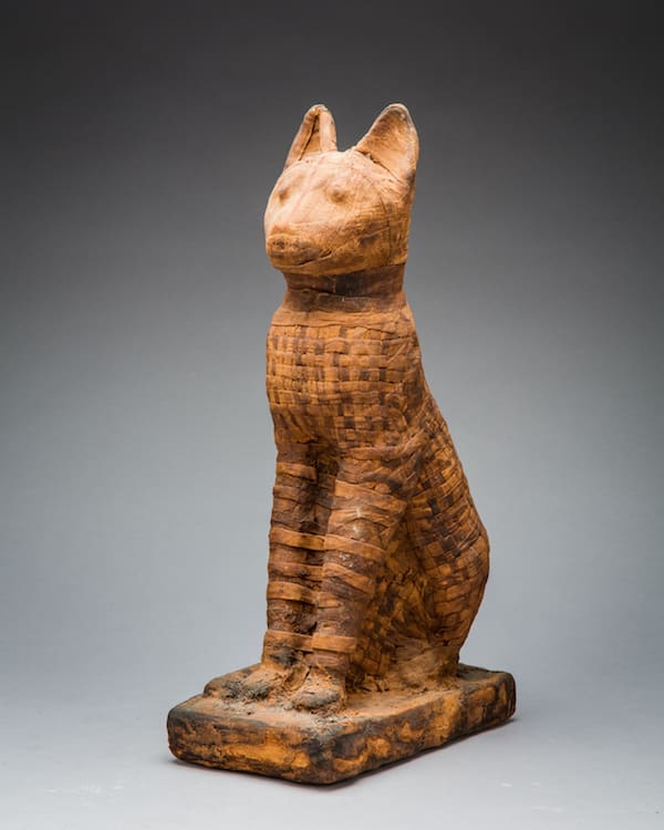 Egyptian deified mummy of a crouching cat, 600 BCE - 300 BCE