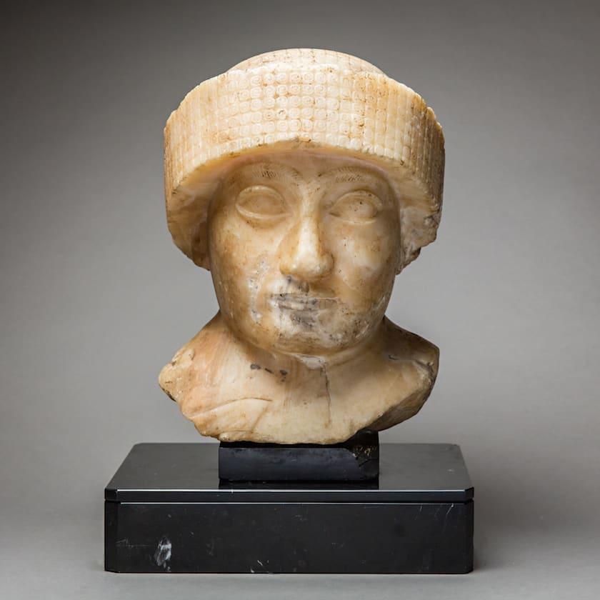 Neo-Sumerian Alabaster Bust of Gudea, 2200 BCE - 2100 BCE