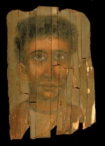 Roman Period Egyptian Mummy Portrait Depicting a Young Man, 2nd Century CE