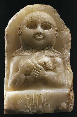 Sabean Alabaster Stele Depicting a Mother and Child, 200 BCE - 100 CE