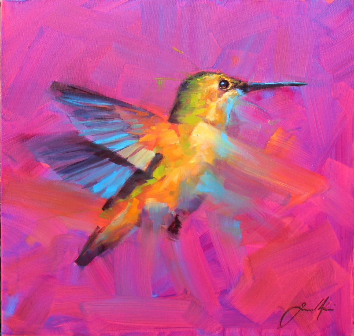 Jamel Akib Electric Hummingbird , 2019 Oil on Canvas 61 x 61 x 4 cm 24 1/8 x 24 1/8 x 1 5/8 in