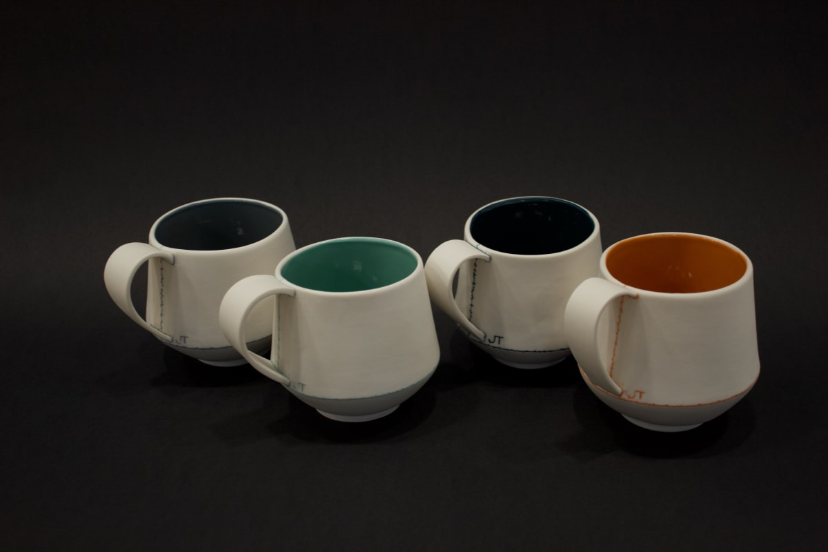 Jessica Thorn Breakfast Cup - Set of Four, 2019 Porcelain 9 x 12 x 10 cm 3 1/2 x 4 3/4 x 4 in