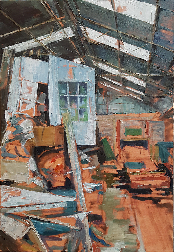Julia Brown Threlkfeld Engine Shed, 2019 Oil on Canvas 91.5 x 61.5 x 4 cm 36 1/8 x 24 1/4 x 1 5/8 in