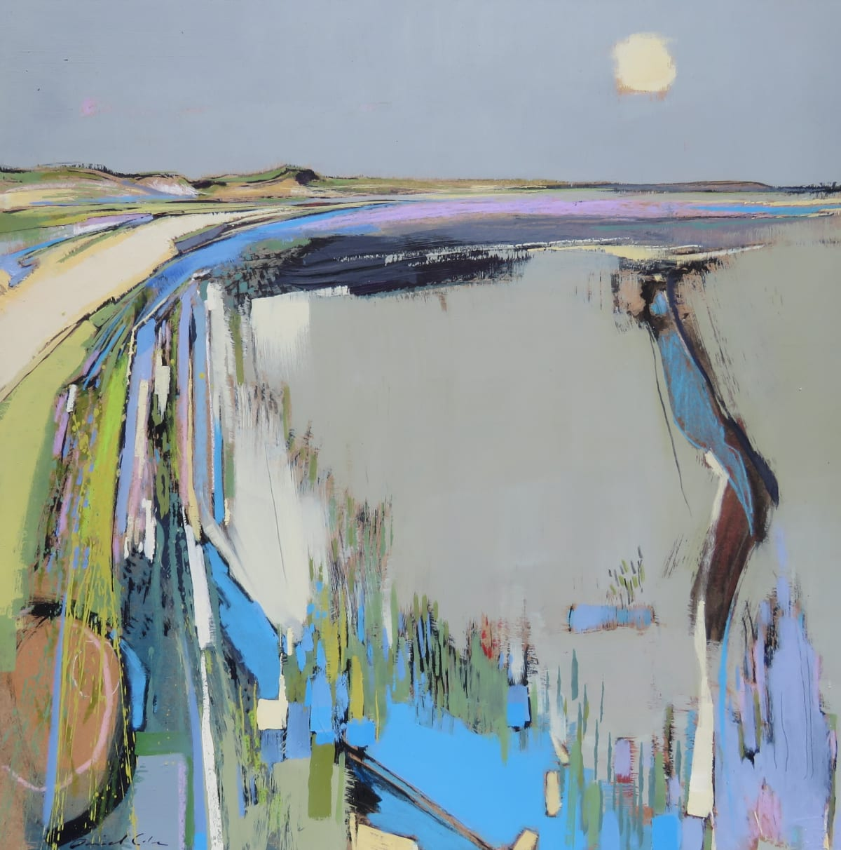 Daniel Cole Pale Sun Over Marsh Channel, Norfolk, 2019 Mixed Media Painting 50 x 50 x 4 cm 19 3/4 x 19 3/4 x 1 5/8 in