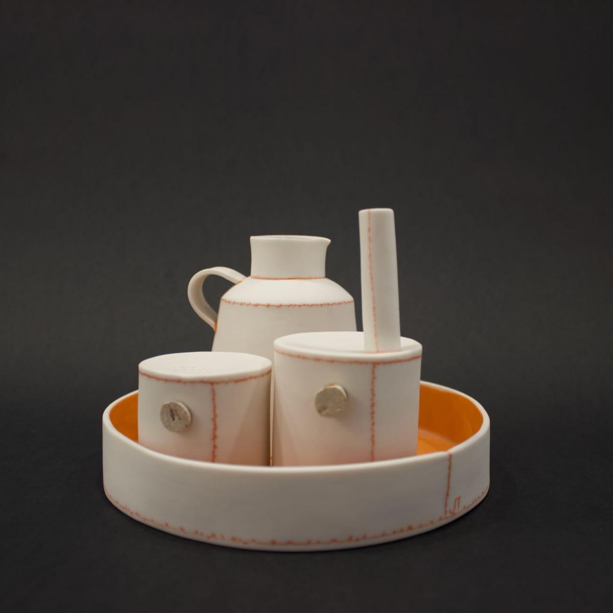 Jessica Thorn Breakfast Condiment Set, Orange, 2019 Porcelain 11 x 16 x 16 cm 4 3/8 x 6 1/4 x 6 1/4 in