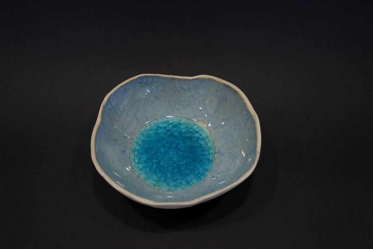 Emma Hiles Medium Blue Bowl, 2019 Ceramic with Bombay Sapphire Glass Inner 8 x 19 x 19 cm 3 1/8 x 7 1/2 x 7 1/2 in
