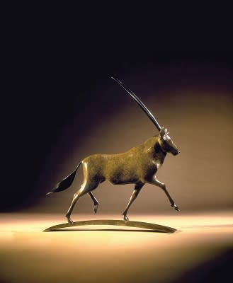 Simon Gudgeon Gemsbok Trotting Edition 6 of 12, 2017 Bronze Sculpture 16 7/8 x 15 1/2 x 3 1/2 in 43 x 39.5 x 9 cm 6 of 12