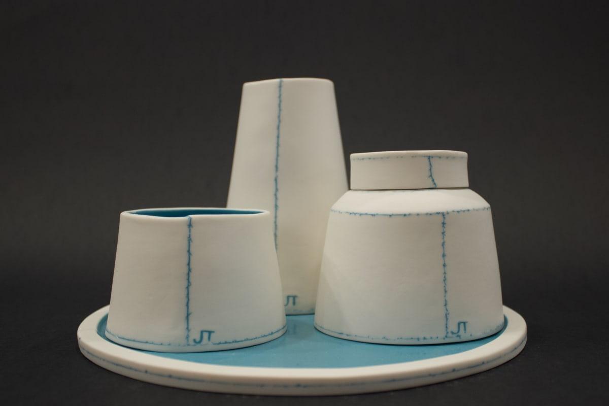 Jessica Thorn Condiment Set, Bright Blue, 2019 Porcelain 13 x 21 x 21 cm 5 1/8 x 8 1/4 x 8 1/4 in