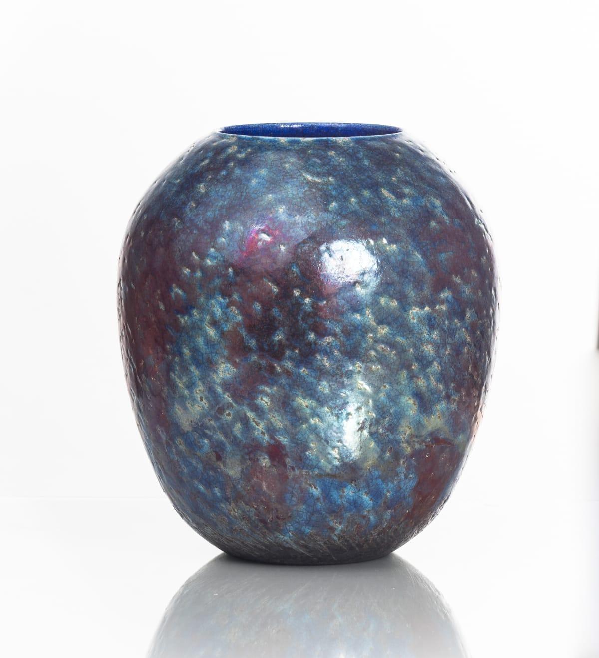 Neill Curran Dark Blue & Copper Vessel, 2019 Raku Ceramics 24 x 22 x 22 cm 9 1/2 x 8 5/8 x 8 5/8 in