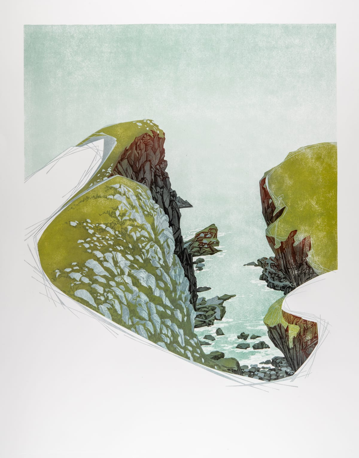 Laura Boswell Between Cliffs, St Abbs Head, 2020 Linocut 68 x 54 x 3 cm 26 3/4 x 21 1/4 x 1 1/8 in Edition 2 of 10