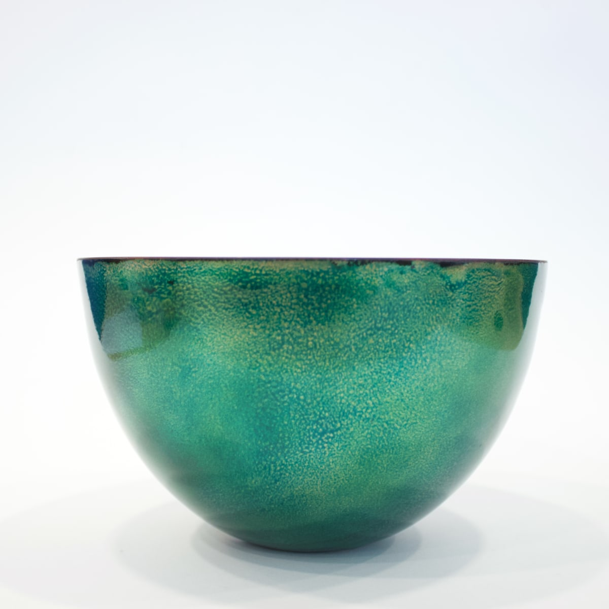 Lundsten Glazzard Large Bowl in Turquoise and Green, 2019 Copper Bowl with Enamelled Detailing 11 x 17.5 x 17.5 cm 4 3/8 x 6 7/8 x 6 7/8 in