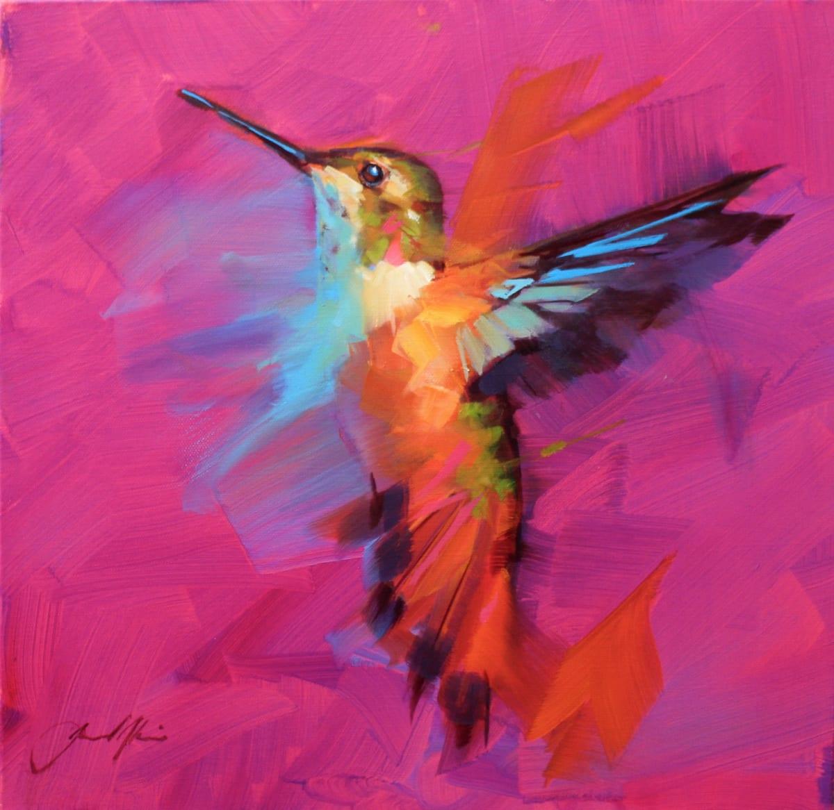 Jamel Akib Electric Hummingbird , 2019 Oil on Canvas 40 x 40 x 4 cm 15 3/4 x 15 3/4 x 1 5/8 in