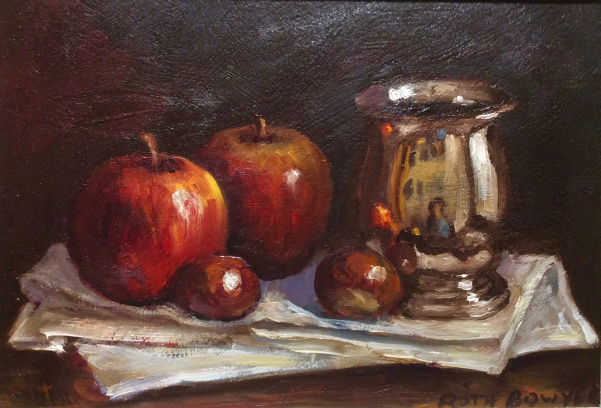 Ruth Bowyer, Silver Mug, apples and conkers, 2019