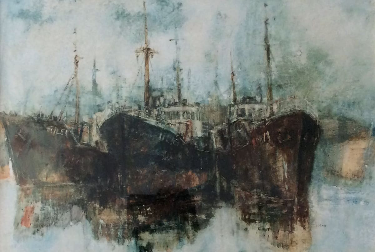 Anthony Amos, Three Trawlers, tied up