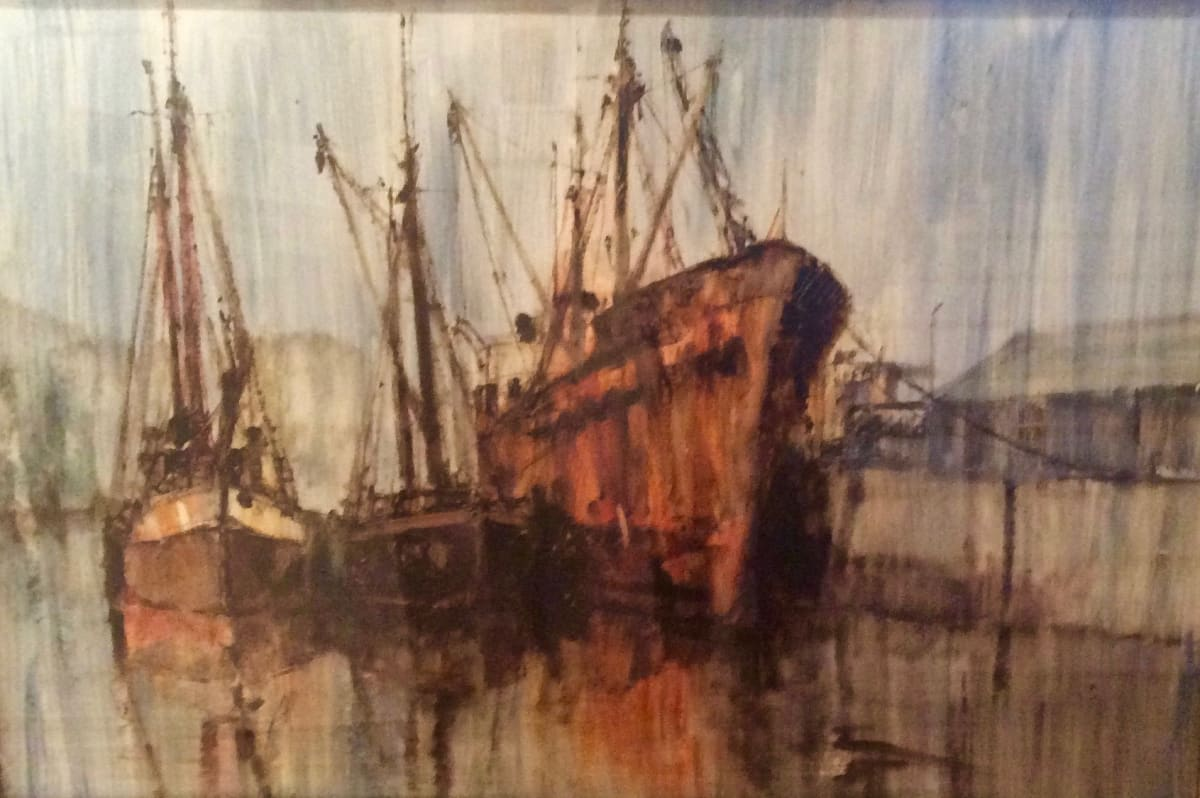 Anthony Amos, Trawler and Two Boats, moored up
