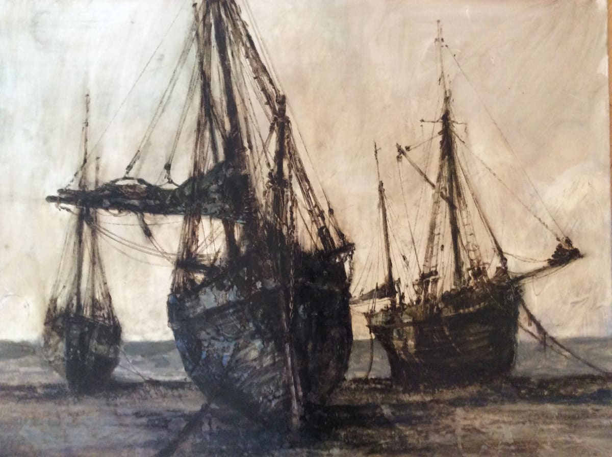 Anthony Amos, Three Trawlers on the Shore