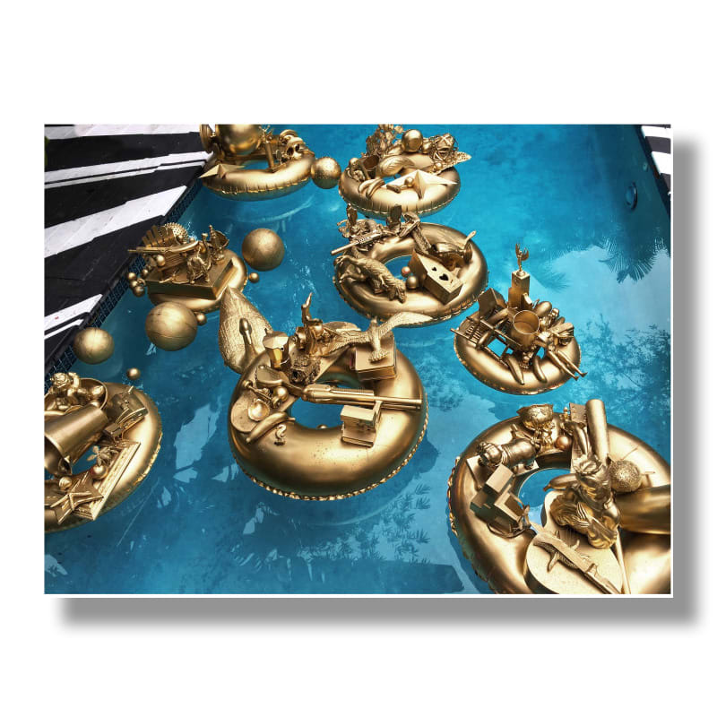 Golden Pond Wishes, site specific installation, (original site images and Art Basel MB Douglas Elliman event, Delano Hotel pool), 2013-2018