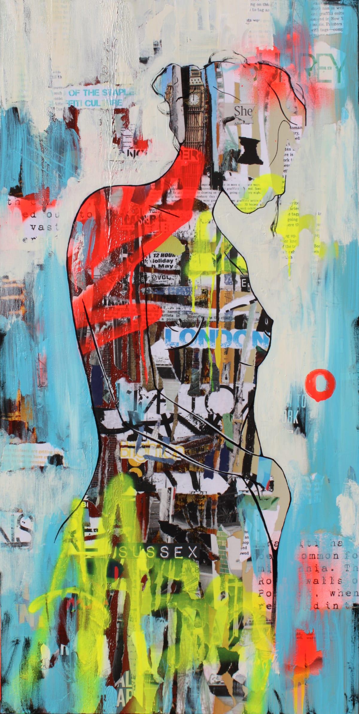 "Ridgers & Cobz Urban Girls I Acrylic on canvas 19.5"" x 39"" framed"