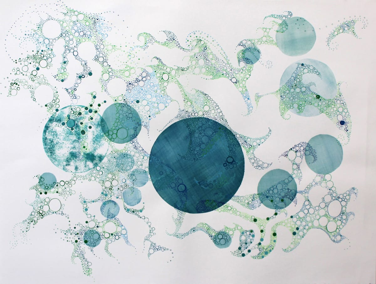"Ruth Hamill Searching Intaglio and calligraphy inks and watercolor on paper 30 x 22"" unframed 37.25 x 30.25"" framed"