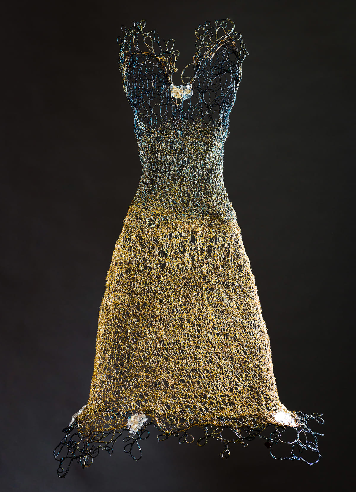 Susan Freda Azul Auro Woven Brass and Blue Copper Wire Dress with Cast Glass, Gold Leaf, Resin and Blue & Gold Metal 21 x 34 unframed