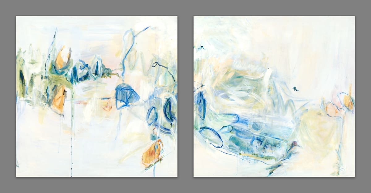 Amy Cannady Thoughts of Aspen As Spring Thaws (Diptych) Mixed media on panel 72 x 36""